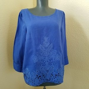 J.Crew Blue Embroidered Linen Top Blouse